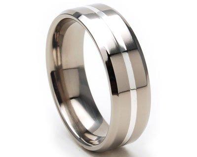 7mm Titanium Ring, Sterling Silver Band, Titanium Rings Wedding Band