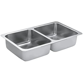 Moen G18211 1800 Series 18 Gauge Double Bowl Undermount Sink, Stainless  Steel