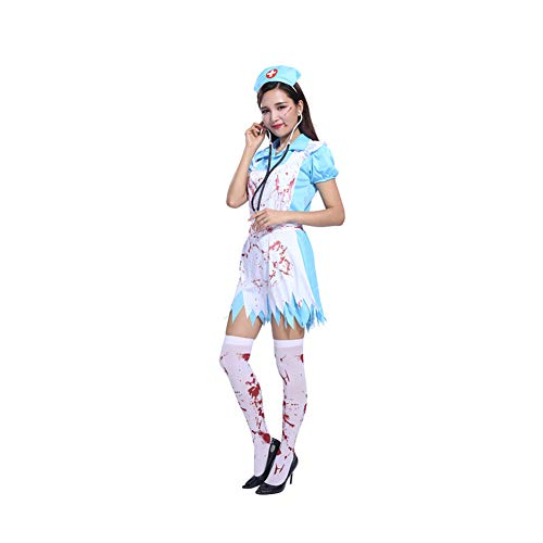 Yaxuan Halloween Cosplay Costume Masquerade Nurse Adult Horror Nurse Female Bloody Doctor Costume Party Carnival Festival,1,M ()