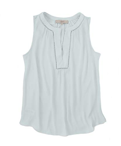 Ann Taylor LOFT Women's Aqua Mixed Media Tank (Large, Aqua)