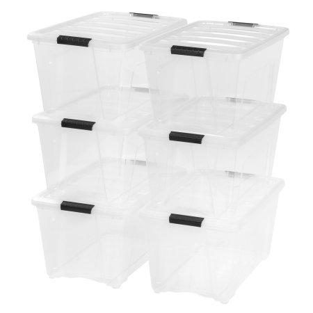 IRIS USA, Inc. Stack & Pull Box, Clear, 54 Quart, 6 Pack