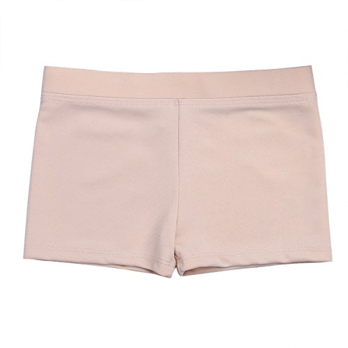 dPois Girls' Boy Cut Low Rise Gymnastics Dance Ballet Sports Cycling Running Shorts Nude ()