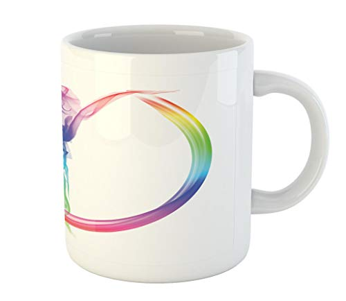Lunarable Abstract Mug, Smoke Dance Shape Silhouette of Dancer Ballerina Rainbow Colors Fantasy Artistic, Printed Ceramic Coffee Mug Water Tea Drinks Cup, Multicolor