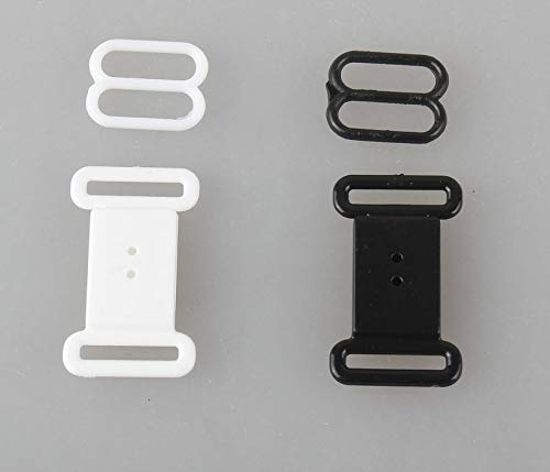Buckles - 100 Sets Plastic Hardware Adjustable Tape Accessories Black Clasps & Hooks Eye Set Bow Tie Clip Bra Fastener Swimwear 1.2cm - (Size: white, Color: 100pcs)