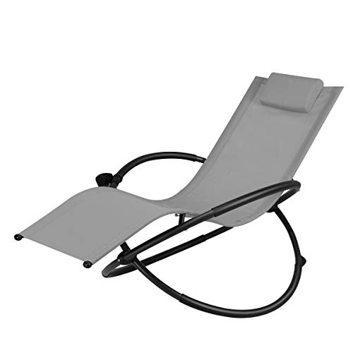 Goplus Outdoor Orbital Lounger Zero Gravity Chaise Foldable Rocking Chair w/Removable Pillow & Cup Holder Portable Chair for Camping, Fishing, Beach, Patio, 400-lb Capacity (Gray)