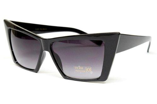 [Sharp Cat Eye Vintage Retro Fashion Sunglasses Womens Wm17 (black, UV400)] (70s Ladies Fashion)