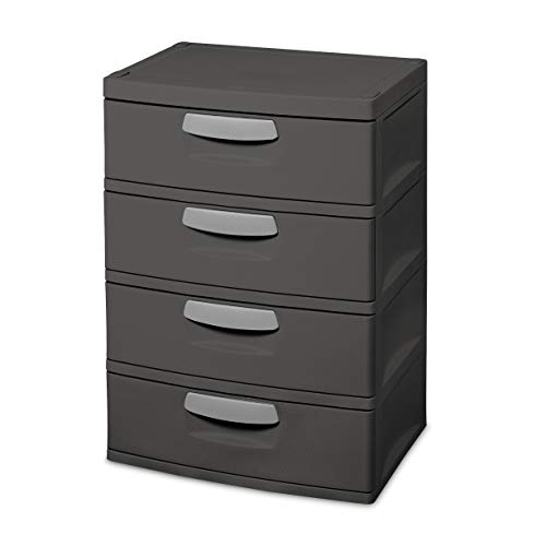 Sterilite 01743V01 4 Drawer Unit, Flat Gray with Black Handles & Drawer Interiors, 1-Pack