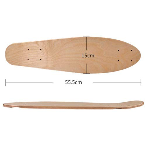 Z&S Blank Skateboard Deck Natural 22 Inch 55cm Maple Banana Sliding Cruising Skating