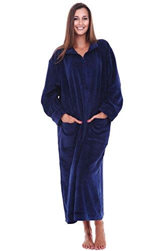 Womens Fleece Robe, Soft Zip-Front Bathrobe, Large XL Navy Blue (A0300NBLXL) ()