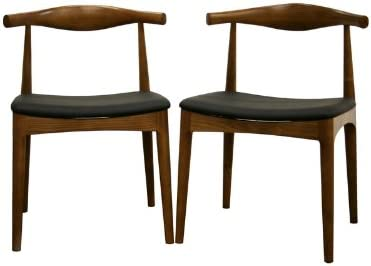 Baxton Studio Sonore Solid Wood Mid-Century Style Dining Chair, Set of 2