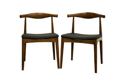 Baxton Studio Sonore Solid Wood Mid-Century Style Dining Chair, Set of 2 - Modern dining chair with mid-century flair Solid wood frame Walnut-like stain finish - kitchen-dining-room-furniture, kitchen-dining-room, kitchen-dining-room-chairs - 31C3rO2fYoL -