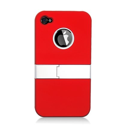 For Apple Iphine 4 4s Accessory - Red Hard Case Proctor Cover with Stand + Lf Stylus Pen