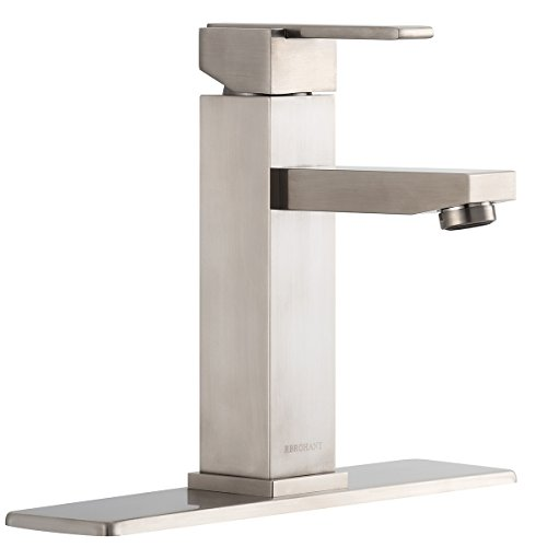 RBROHANT Brushed Nickel One-Handle High Arc Bathroom Faucet-Single Handle Vessel Sink Faucets 1 or 3 Hole Brass Basin Mixer Taps With Cover Plate(BF65001NP) ()