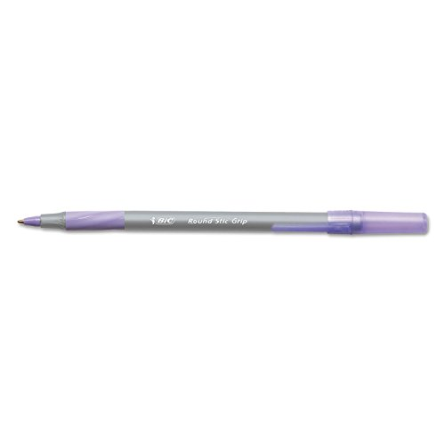 Bic Round Stic Grip Xtra Comfort Ballpoint Pen Purple 1.2mm Medium (Pack of 12 Pcs.)