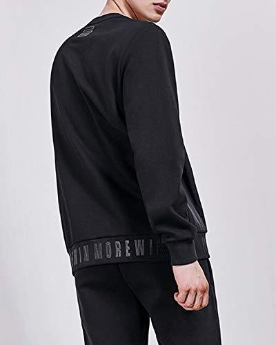 Ovesuxle L Fodera Uomo color Cucito A Velluto Contrasto Da Felpa Black Black Con Size Manica In Lunga Casual rHqrgf