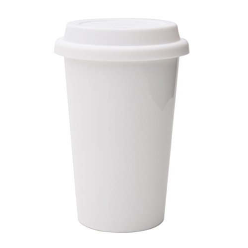 UDMG Reusable Double Wall Insulated White Ceramic Travel Coffee Cup with Lid & Sleeve, 12 fl.oz, I Am Not a Paper Cup ()