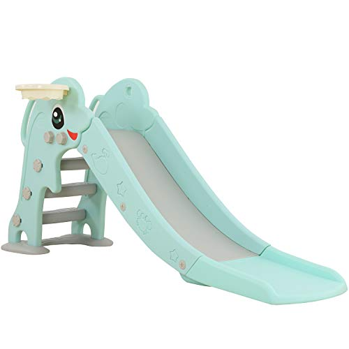 WenStorm Slide for Boys Girls Indoor Outdoor Backyard Use First Slide Playground Plastic Play Slide Climber with Basketball Hoop Dolphin Mint Green