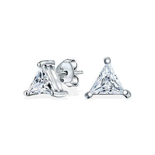 1.5CT Triangle Shaped Cubic Zirconia Basket Set Trillion Cut CZ Stud Earrings For Men Women 925 Sterling Silver
