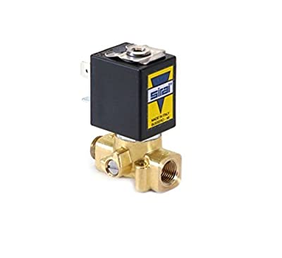 "Sirai L172VB021B12AFQ Brass Body Direct Acting Subminiature Solenoid Valve, 1/8"" Pipe Size, 2-Way Normally Closed, Fluorocarbon Elastomer Sealing, 1/16"" Orifice, B12A DIN Coil, 0.08 Cv Flow, 24V/50/60 by ASCO Valve Inc."
