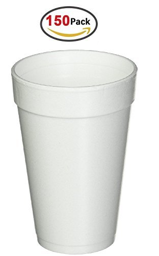 16 Oz. White Disposable Drink Foam Cups Hot and Cold Coffee Cup (Pack of 150)