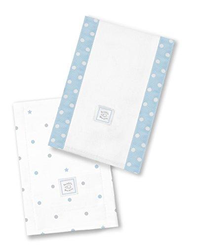 SwaddleDesigns Baby Burpies, Set of 2 Cotton Burp Cloths, Pastel Blue Dottie Star