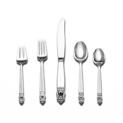 (Royal Danish Gold Accent 5 Piece Lunch Flatware Set with Cream Soup Spoon)