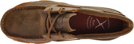Twisted X Women's Leather Lace-up Rubber Sole Driving Moccasins - Bomber/Pink B00DP5QQFA 5.5 B(M) US|Bomber