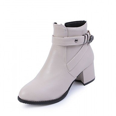 Shoes Chunky Wedding Zipper For Round Leatherette Ankle Boots EU39 Bootie CN39 Office US8 UK6 Women'S amp;Amp; Spring Heel Fashion Boots RTRY Toe Booties Winter Boots qzUx5aC4nw