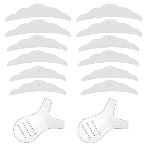 12pcs Silicone Eyelash Perming Curler Shield Pads Lash Lift Rods with Small Medium Large Size, 2pcs Grafting Eyelashes Lash Lift Brush Makeup Beauty Tool Perm Mini Y Shape Eyelash Brush for Eyelash Ex