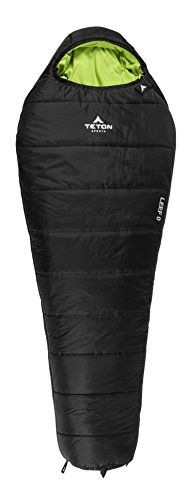 - TETON Sports LEEF Lightweight Adult Mummy Sleeping Bag; Great for Hiking, Backpacking and Camping; Free Compression Sack; Black