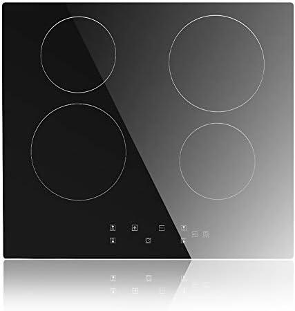 placa de inducci/ón incorporada de 60 cm Placa de inducci/ón con placa de inducci/ón de 4 zonas Placa de inducci/ón vidrio negro 6300W