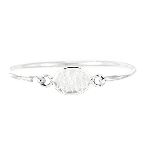 Lgu Sterling Silver Polished Monogrammable Engravable Oval Bangle Bracelet (7 Inches)