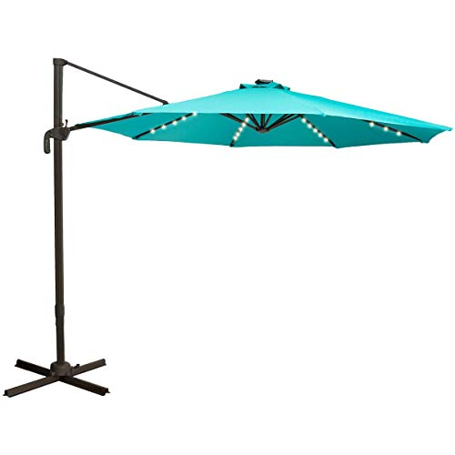TAGI 10 feet Square Outdoor Umbrella with 40 Solar LED Lights, Cantilever Pole with Crank Lift, 8 Iron Ribs, rotatable, Peacock Blue