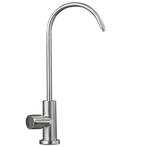 ESOW Water Drinking Faucet, 100% Lead-Free Water Filter Faucet Fits most RO Units or Water Filtration System, Stainless Steel Body Brushed Nickel, Sink Water Filtration Faucet, 1/4-Inch (Cut Hole Stainless Steel Sink)