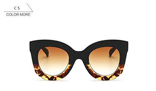 de sol Vintage señoras de Gafas gafas ZHANGYUSEN Blackleopardbrown Blackleopardbrown de de femenino para UV400 ojo la Retro gato Mujer moda O1BR7w