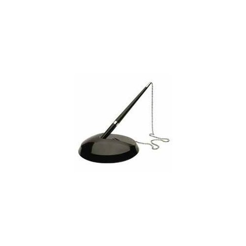 (Reception Pen Desk Set on Chain with Stand- Black Counter Pen + Free Refills)