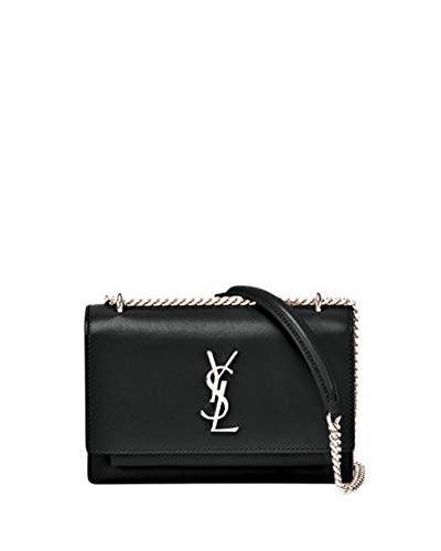 Sunset Monogram YSL Small Calf Leather Wallet on Chain made in Italy (Black)