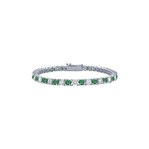 May Birthstone Emerald and Diamond Tennis Bracelet in Platinum 1.50 CT TGW