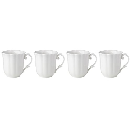Lenox Butterfly Meadow Solid White Mugs (Set of (Lenox Stoneware Mug)