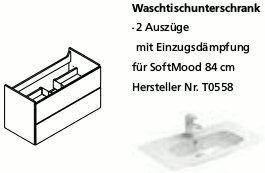 Lanzet C7 Waschtischunterbau für SoftMood 84, Pinie