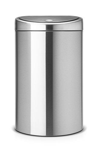 Brabantia Touch Lid Trash Can, 10 Gal, Fingerprint Proof - Matte Steel