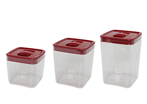 Click Clack Cube Storage Containers with Lids Capacity, 1-1/2, 3 and 4-1/2 Quart, Red ()
