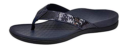 Vionic Women's Tide Sequins Toe Post Sandals - Ladies Flip Flop Sandals with Concealed Orthotic Arch Support Navy 9 M US