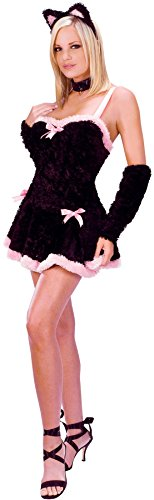 GTH Women's Sexy Animals Kiss Me Kitty Adults Halloween Themed Fancy Costume, M/L (8-14) (Kiss Me Kitty Costume)