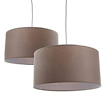 Home Line Lámpara de Techo en algodón y PVC. Pantalla en Color Crema - Grande