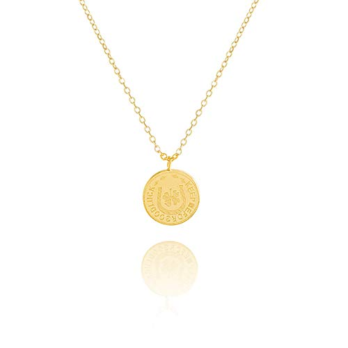 DOZOGU Round Ancient Coin Pendant Necklace for Women Medallion Gold Silver Color Chain Long Stainless Steel Rose Flower Clover