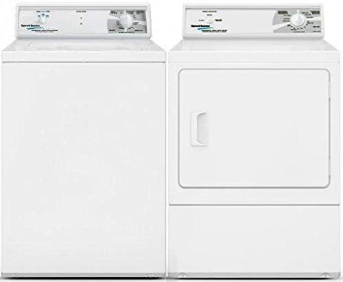 Speed Queen Top Load LWN432SP115TW01 26″ Washer with Front Load LDE30RGS173TW01 27″ Electric Dryer Commercial Laundry Pair in White