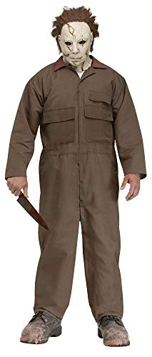 Men's Michael Myers Scary Zombie Theme Party Outfit Halloween Mask and Costume, One Size ()