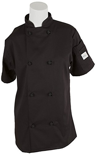 Mercer Culinary M60024BKXXS Millennia Women's Short Sleeve Cook Jacket with Cloth Knot Buttons, XX-Small, Black
