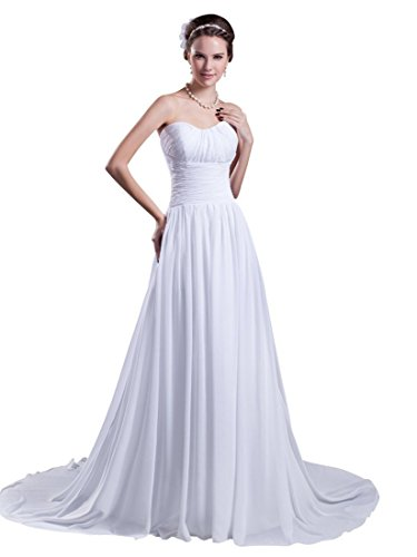 Angel Formal Dresses Sweetheart Cathedral Train Chiffon Wedding Dress (18, Ivory) (Sweetheart Cathedral Train)